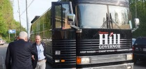 Arriving at 8 a.m., Governor Candidate Hunter Hill steps off his bus to meet citizens at Mike's Ellijay Restaurant.